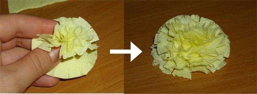 Как сделать цветы из салфеток и листики